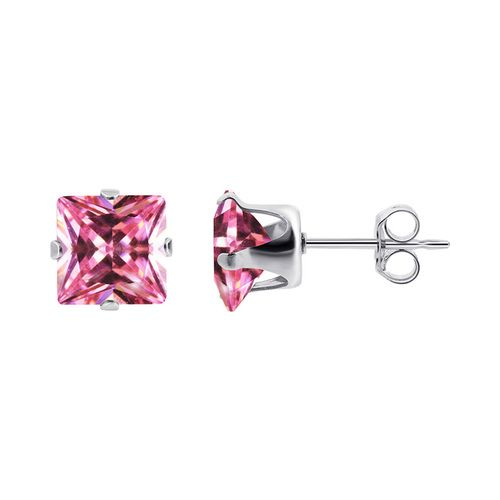 925 Silver 7mm Square Pink October Birthstone CZ Post Back Stud Earrings #TDEZ2160-P