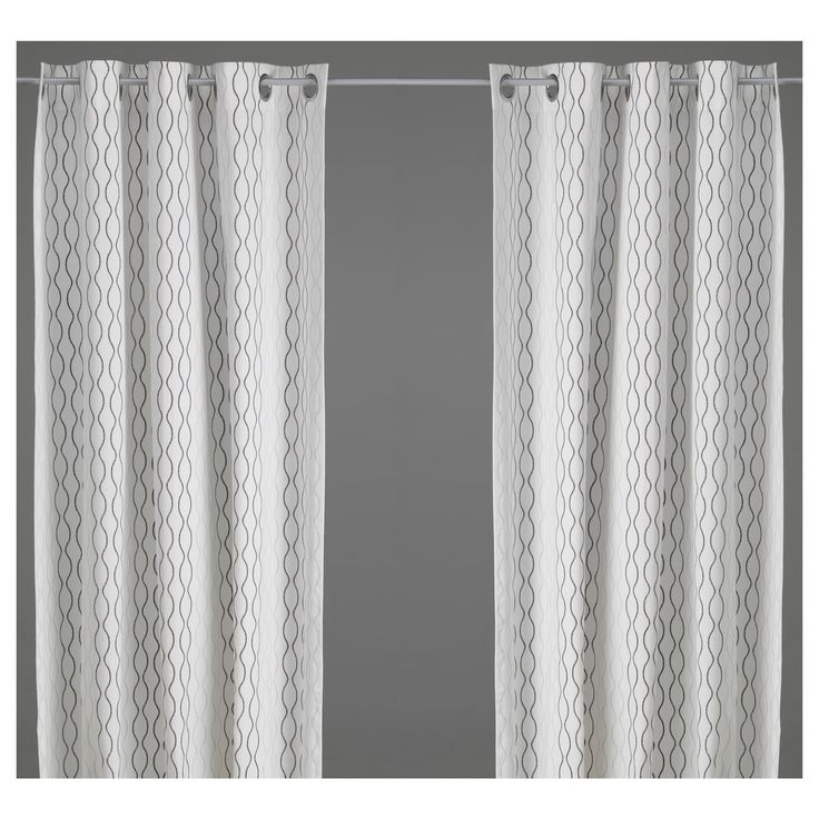 IKEA HENNY RAND White/brown, Gray Curtains, 1 pair