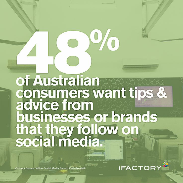 48% of Australian consumers want tips & advice from businesses or brands that they follow on social media. #consumers #australia #tips #advice #brands #social  #socialmedia #ifactory #digital