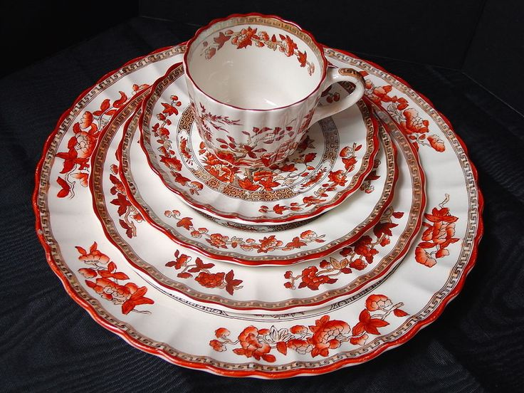 Spode Indian Tree Rust 5 pc Place Setting Old New Marks English Fine China #Spode