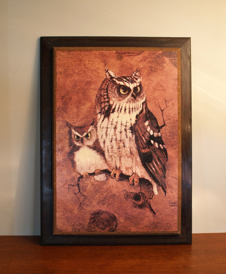 Awesome owl wall hanging retro owl picture on wood board screech owl by richard j hinger circa 1970s owl home decor