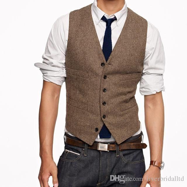 2015 New tailored tweed vest tuxedos custom made suits vest groommens suits vest mens wedding vest for men