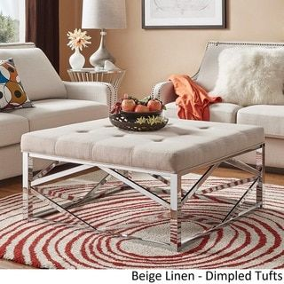Solene Geometric Base Square Ottoman Coffee Table - Chrome by INSPIRE Q - Free Shipping Today - Overstock.com - 20157823 - Mobile