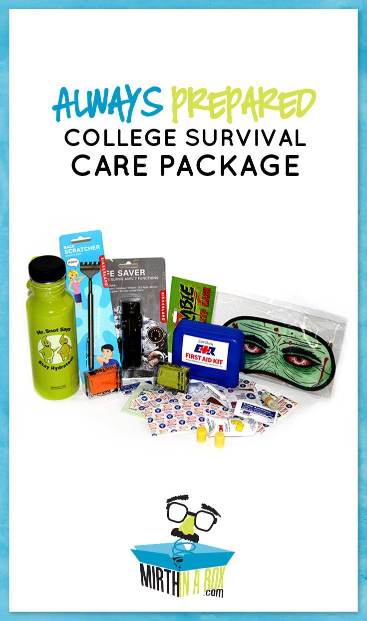 Is your student in the thick of college tests? Now's the time a care package is really needed! We include ID tags, ear plugs, a zombie sleep mask, aluminum water bottle, extendable back scratcher, mini first aid kit and a waterproof ID case with carabiner! Always prepared!