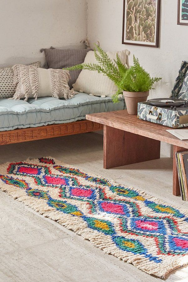 One Of A Kind Moroccan Tufted Boucherouite Runner Rug