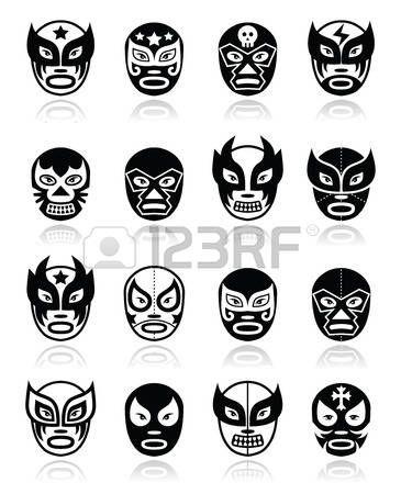 Lucha libre, luchador de lucha libre mexicana máscaras negras iconos