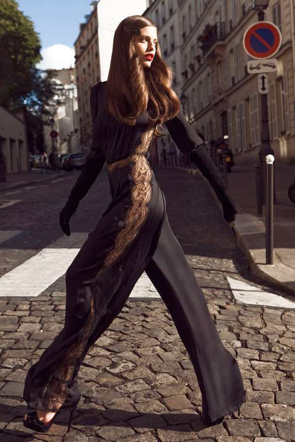 Silk lace cat suit...super sexy. Hair is flawless.