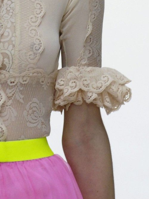 neon yellow, pink and lace nude