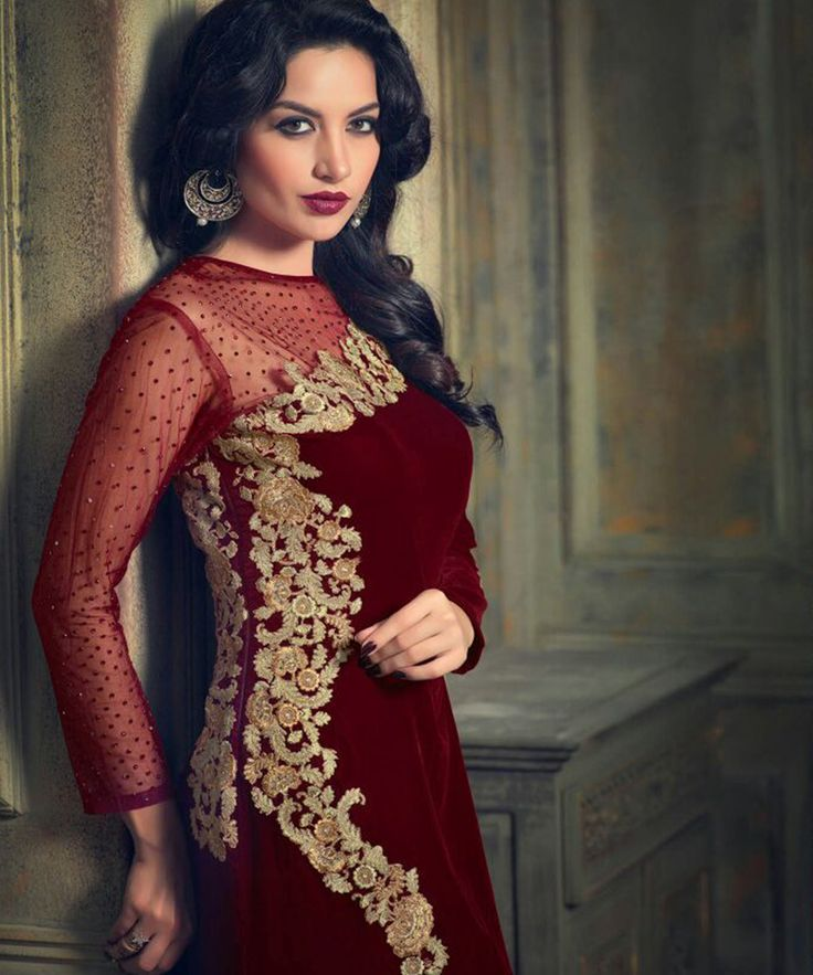 #OnlineShoppingIndia Store sell #Designer Heavy Embroidered on Velvet With Red Color top And #Embroidered on Beige Satin Bottom With Chiffon Dupatta #semi-stitched salwar-suit #dress materials.