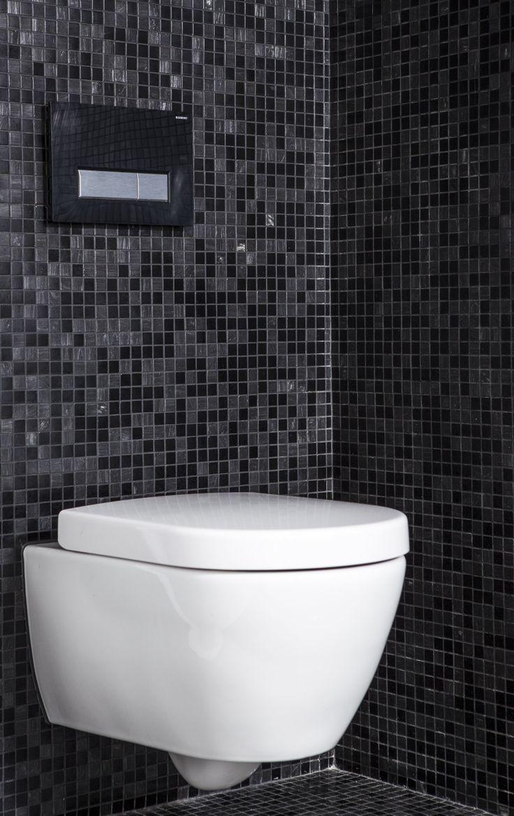 Spreekt dit hangtoilet in deze badkamer u aan dit toilet heeft zelfs een geurafvoersysteem - Badkamer tegels mozaiek ...
