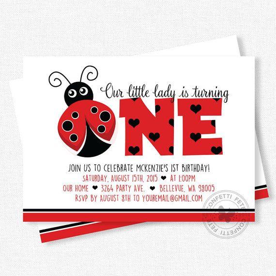 Ladybug Birthday Invitation First Birthday by ConfettiFete on Etsy