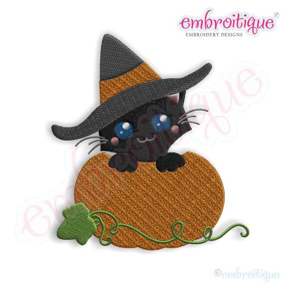 Cat in a Pumpkin Halloween Embroidery Design by Embroitique