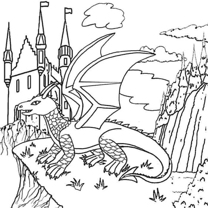Castle And Dragon Coloring Pages Dragon Coloring Page Cool Coloring Pages Valentines Day Coloring Page