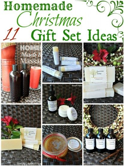 11 Homemade Christmas Gift Set Ideas - massage oils, lotions, soap, shampoo, extracts, and other great homemade gifts with healthy ingredients. #christmas #presents #homemade