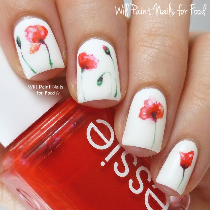 The Digit-al Dozen Does Floral: Day Four, Watercolour Poppies by Will Paint Nails for Food