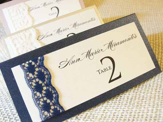 Lace Wrapped Place Escort Cards by Lavender by LavenderPaperie1, $206.25 www.celebrationsbykat.com