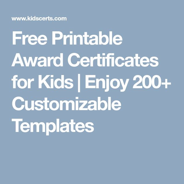 Free Printable Award Certificates for Kids | Enjoy 200+ Customizable Templates