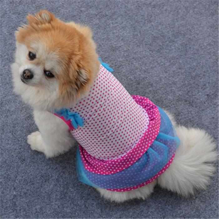 Pet Skirt Summer Rose Wave Point Ice Skirt Cake Skirt Vip Teddy
