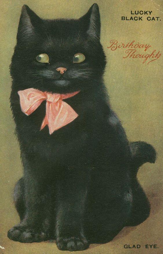 "Lucky black cat ""Glad Eye"" - vintage birthday postcard."