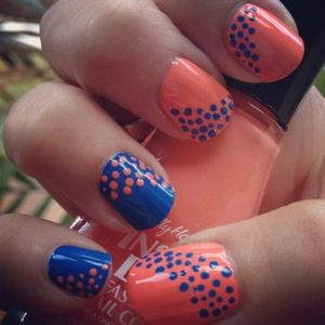 Polka dot manicure: Colors Combos, Nails Art, Cute Nails, Nails Design, Polka Dots Nails, Gators Nails, Summer Nails, Football Season, Blue Nails