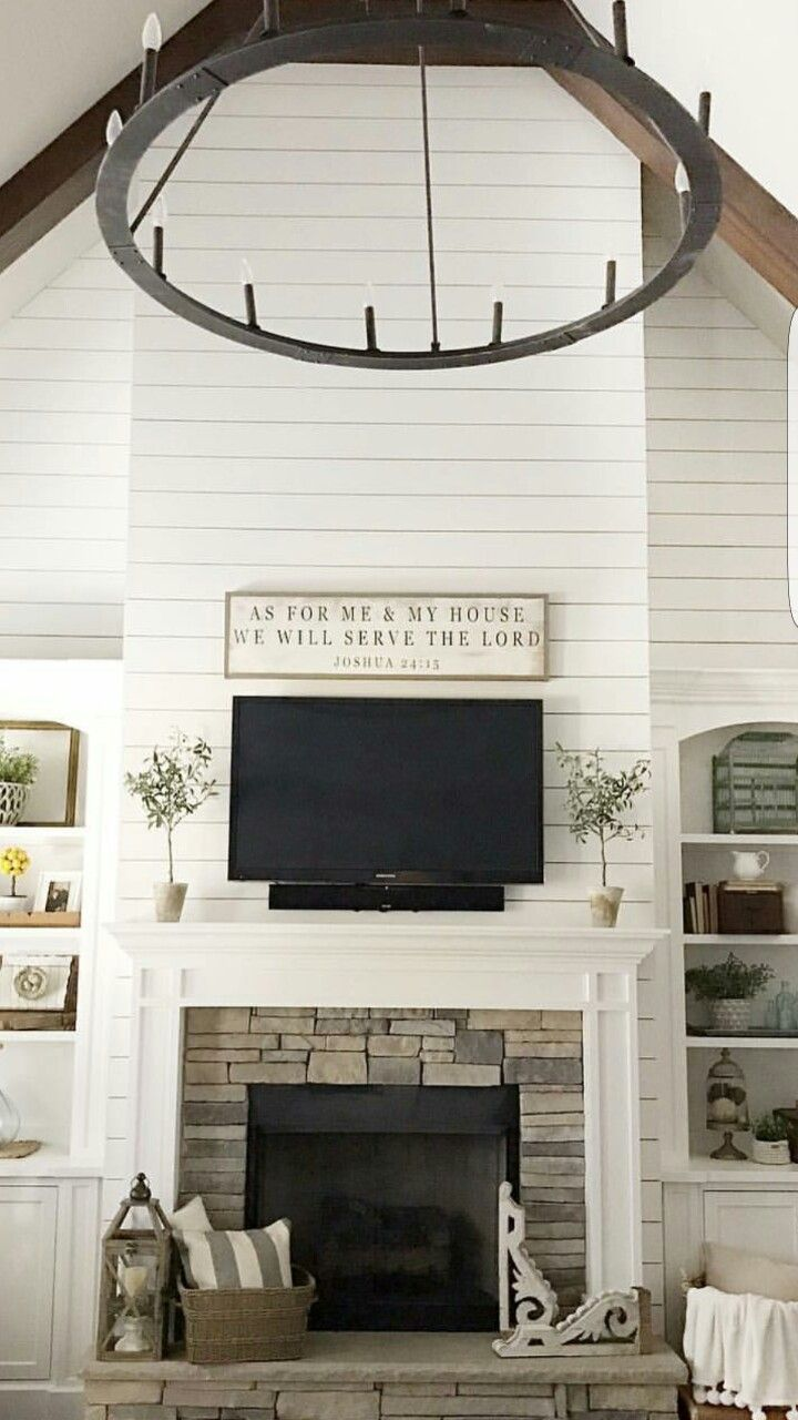 Living room stone fireplace shiplap built ins for Living room built ins ideas