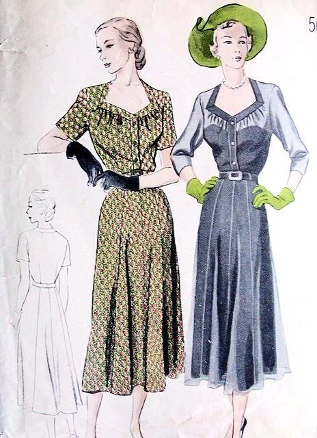 1940s BEAUTIFUL Day or Evening Party Dress Pattern BUTTERICK 5144 Flattering Neckline 8 Gore Skirt Bust 36 Vintage Sewing Pattern