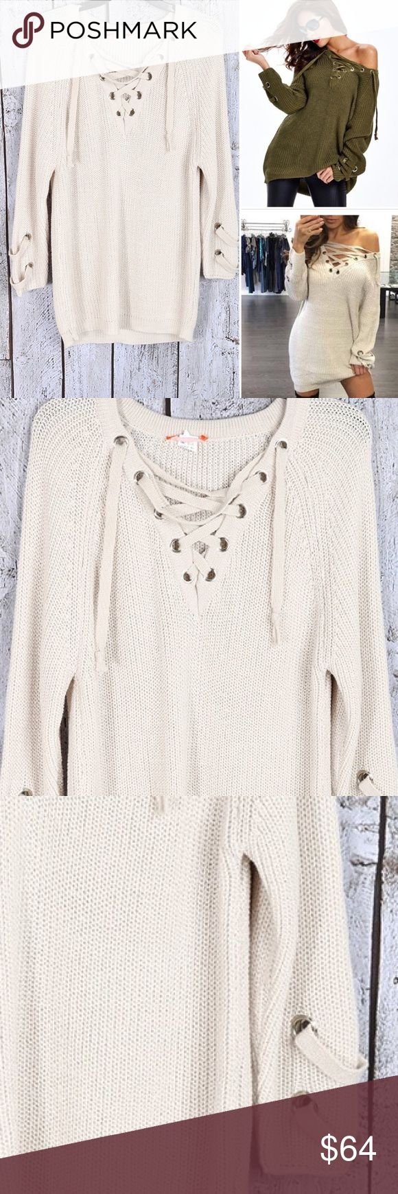 1DAY SALE LUXE Light Stone Lace Up Knit Sweater LUXE Light Stone Beige Lace Up Knit Sweater NWT ❌PRICE FIRM ❌HOTTEST SWEATER OF THE SEASON! Light Stone (like a really light beige or light cream) Lace Up Knit Ribbed V Neck Grommet Sweater. Actual color on pictures 2 & 3. S/M size 0-6 M/L= size 8-10   look @ my closet for great dealstradesreturns-ask Q's ❤️PRICE FIRM unless bundled❤️HIGH QUALITY fast shipping❌Low ballers will be ignored BOUTIQUE Sweaters