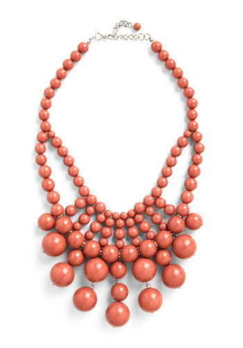 What About Bauble? Necklace in Rich Mauve - Tan, Solid, Beads, Tiered, Statement, Bridesmaid