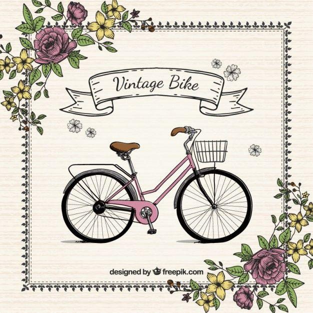 Fondo vintage de bici dibujada a mano con flores Vector Gratis