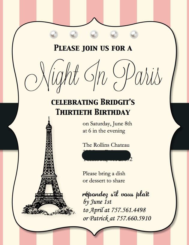 Best Paris Birthday Ideas On Pinterest Paris Themed Birthday - Sample birthday invitation in french