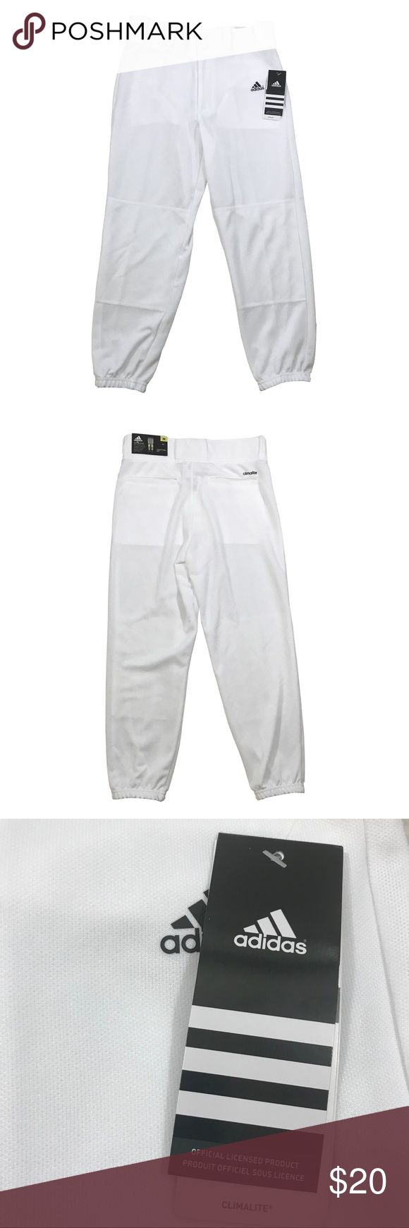 🆕 ADIDAS WHITE BOY'S BASEBALL PANTS MEDIUM 🆕 Size: Medium Waist: 27 Inches Length: 31 Inches Inseam: 21 Inches  Pants are BRAND NEW WITH TAGS!!! adidas Bottoms Sweatpants & Joggers