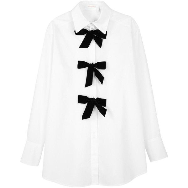 See By Chloe Shirt With Bows (1.060 RON) ❤ liked on Polyvore featuring tops, relax shirt, bow shirt, relaxed fit shirt, see by chloe shirt and see by chloe top