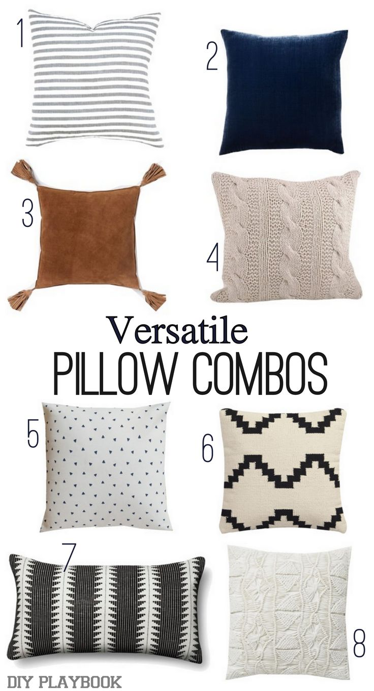 A neutral grouping of pillows to add some major style to a gray couch. Love the black, cognac, white, and gray look all together. Come read our tips to choose the perfect throw pillows for your couch.