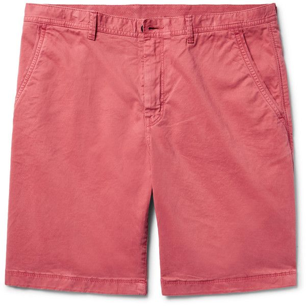 Michael Kors Stretch-Cotton Twill Chino Shorts ($100) ❤ liked on Polyvore featuring men's fashion, men's clothing, men's shorts, mens red shorts, mens red chino shorts, mens twill shorts, preppy mens clothing and mens preppy shorts