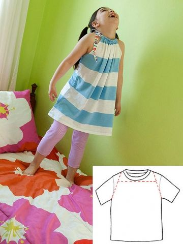 With a little help from an adult, your child can recycle a T-shirt into a comfy tunic that she'll jump, twirl, and flip over.                 Start with an ironed T-shirt (men's medium or large). Lay it flat and following the illustration, mark and cut the sleeves and neck from the shirt. At what will be the neck of the tunic, fold and press with an iron a 1 1/4-inch hem toward the inside of the shirt, on both the front and the back. Use embroidery thread and a needle to sew the two hems…