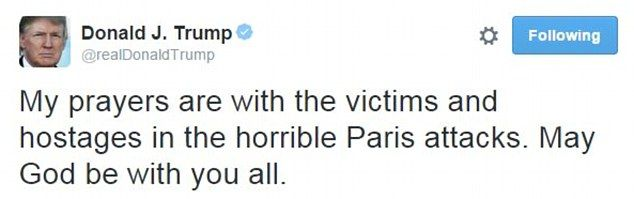 Trump says Paris attack would have been different if victims had guns