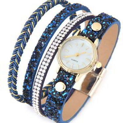 Diamond Round Dail Watch  Blue