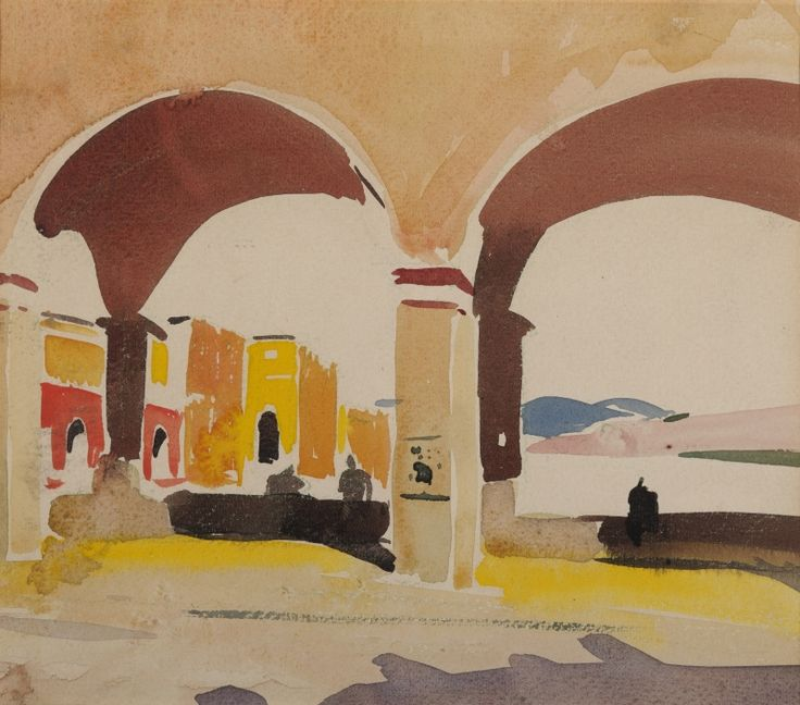 A watercolor by Louis Kahn of Ponte Vecchio, Florence. painted ca. 1930 (© Private Collection, photo: Paul Takeuchi 2012)