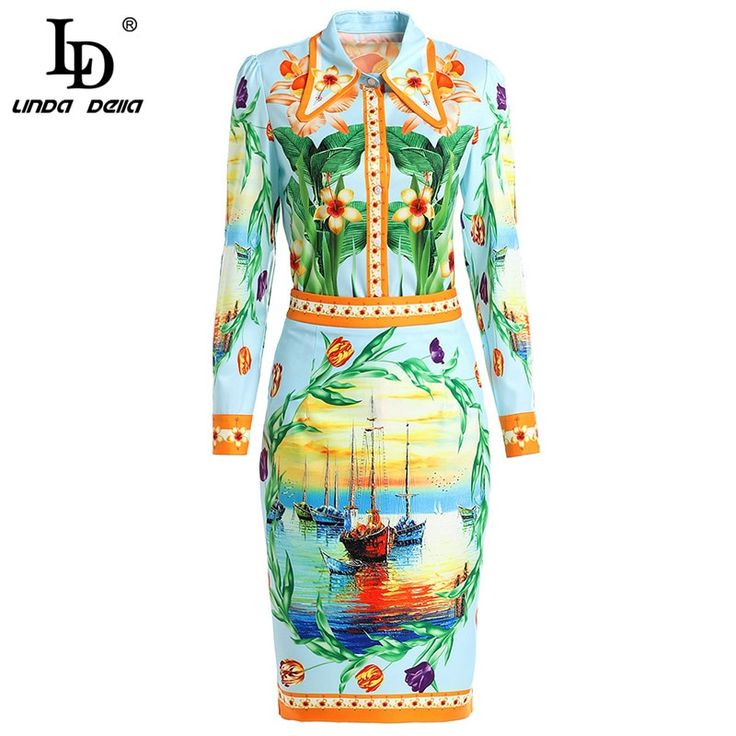 2019 Fashion Runway Designer Skirt Set Women's Casual Floral Print Blouses + Midi Pencil Skirt Two Pieces Set 2