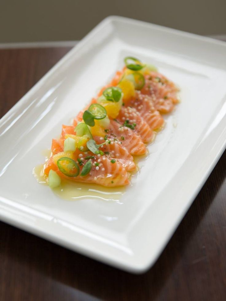 Have you met the Scottish Salmon Crudo? Delicately prepared and served with Orange, Serrano, Micro Basil and Cucumber, the Scottish Salmon Crudo is a new addition to the menu and quickly becoming a favorite. Available for Lunch or Dinner..