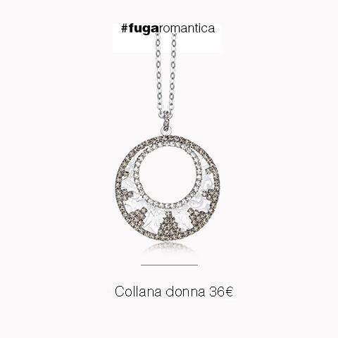 Collana in metallo con bagno in oro bianco e cristalli grigi Luca Barra Gioielli. #collana #donna #lucabarragioielli #tendenzemoda #style #mood