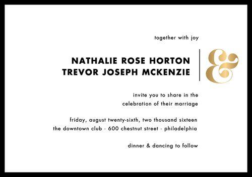 Foil Stamped Ampersand Wedding Invitation   Paper Source