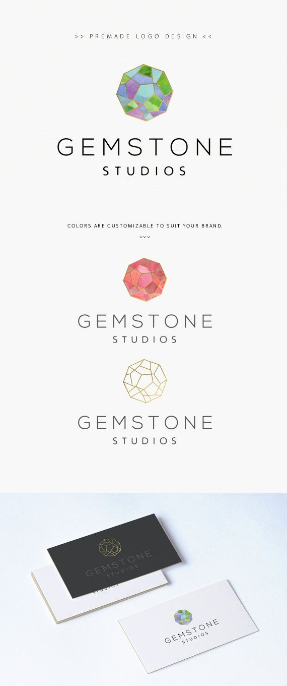 Modern Geometric Gold and Watercolor Logo - Premade Logo Design Modern Geometric Logo by YellowWelliesDesigns