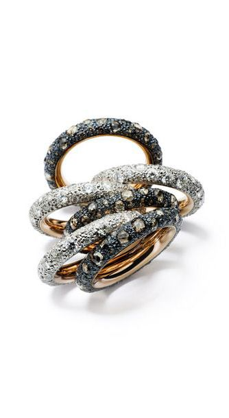 Pomellato ~ Tango Collection stackable rings with brown and white diamonds