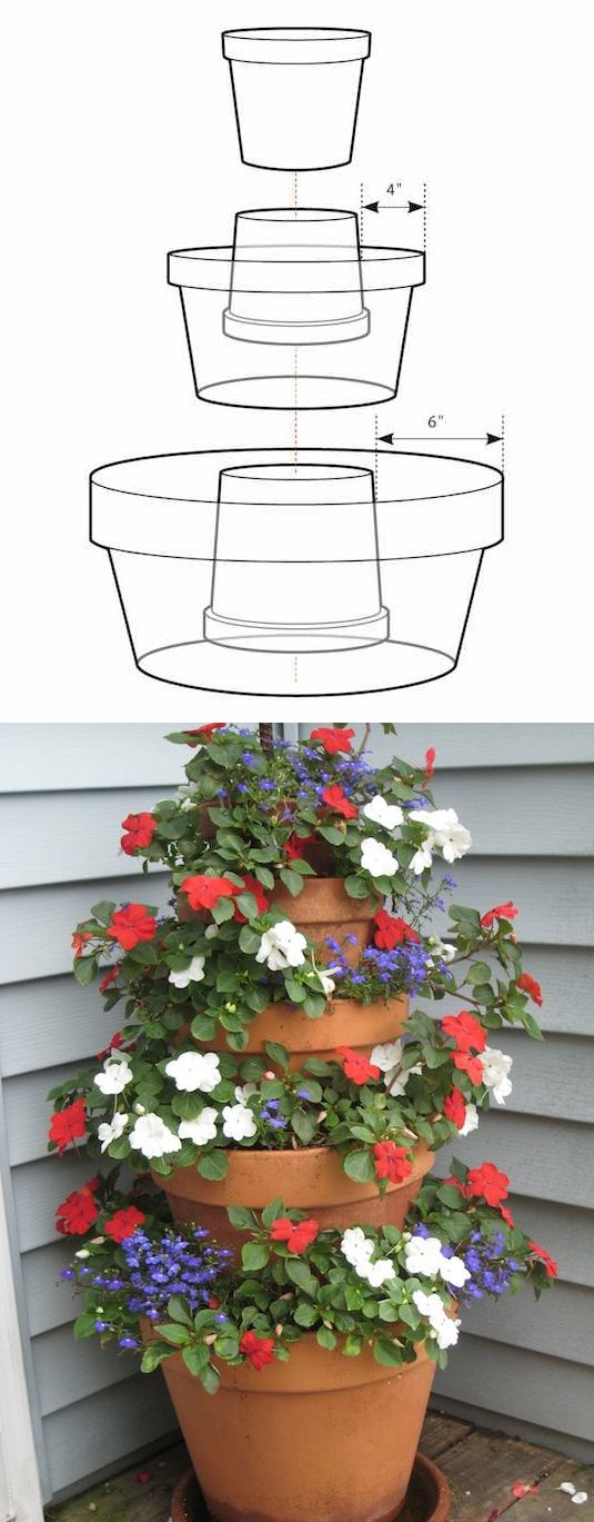 #8. Create a masterpiece simply by stacking pots. -- 13 Clever Flower Arrangement Tips & Tricks