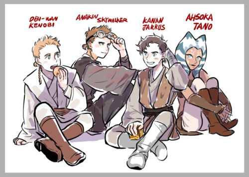 Padawans: Obi-Wan Kenobi, Anakin Skywalker, Kanan Jarrus and Ahsoka Tano