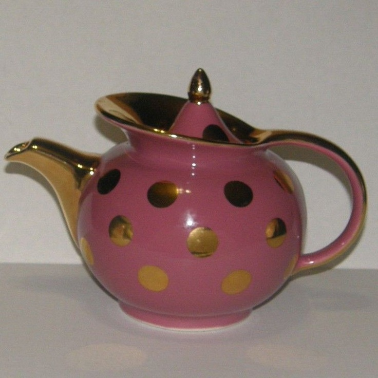 61 best hall china images on pinterest tea pots hall for Gold polka dot china