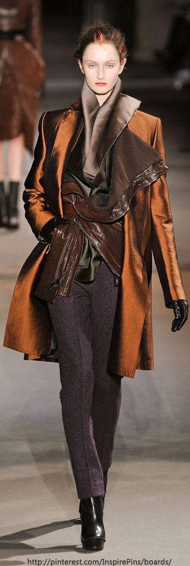 Haider Ackermann, great layers, and wonderful shades of orange, brown, and caramel.