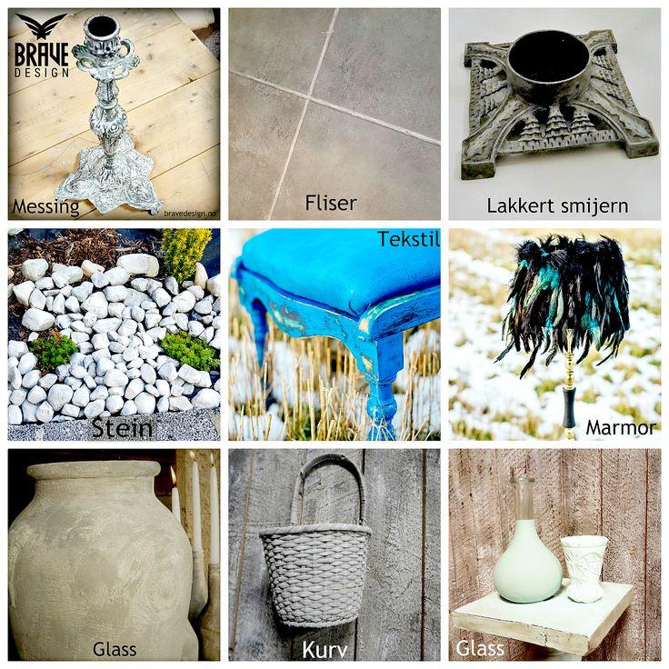 Vintro kalkmalignkan du bruke på det meste av underlag -dette er bare noe av det du kan bruke den til; møbler messing, lysestaker, lamper, kurv, glass, keramikk, vaser, stein, fliser osv!  https://www.bravedesign.no/pages/om-vintro-kalkmaling