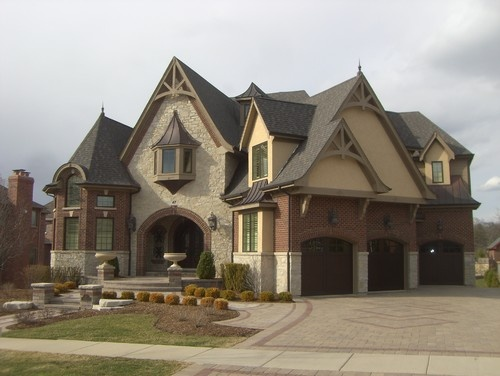 Custom Architecture - traditional - exterior - chicago - by JB Architecture Group, Inc. Brick, stone, stucco mix